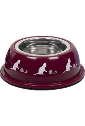 Nobby Renkli Plastik Çelik Hazneli Kedi Mama ve Su Kabı 200 ml Kırmızı