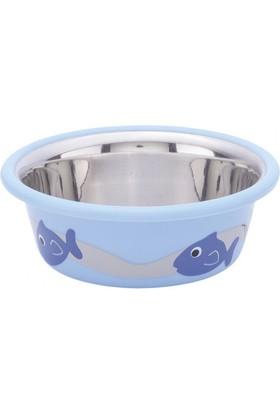 Nobby CUTİE Paslanmaz Çelik Kaydırmaz Balık Desenli 0,25 L 9,5 cm Açık Mavi