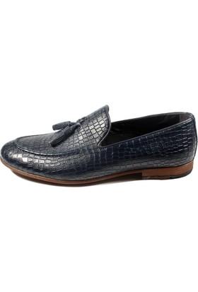 Pablo 217-050 Lacivert Kroko Erkek Ayakkabı