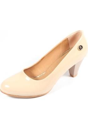 Ella 255-91 Krem Rugan Kadın Topuklu Ayakkabı
