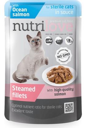 Nutrilove Tahılsız Kısırlaştırılmış Somonlu Kedi Pouch 85 gr