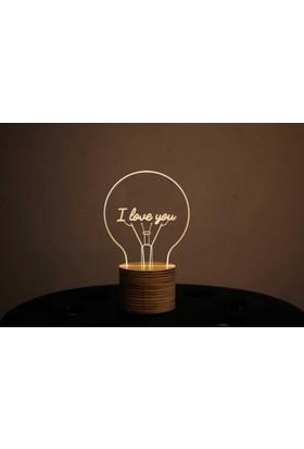By-Lamp 3 Boyutlu I Love You Lamba