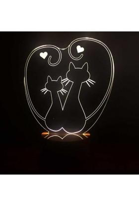 By-Lamp 3 Boyutlu Kediler Lamba