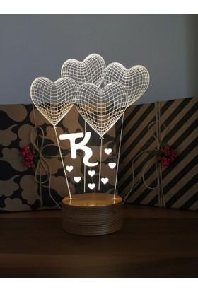 By-Lamp 3 Boyutlu Küçük Kalp Balon Lamba