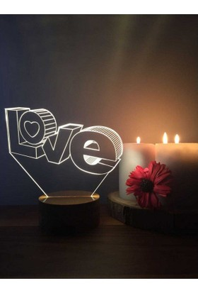 By-Lamp 3 Boyutlu Love Lamba
