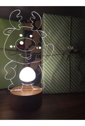By-Lamp 3 Boyutlu Sevimli Geyik Lamba