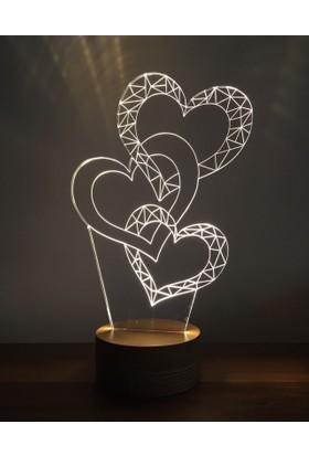 By-Lamp 3 Boyutlu Üç Kalp Lamba