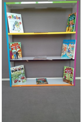 Cenker C010 Renkli Pvcli Parlak Beyaz Mdf Çocuk Odası Montessori Kitaplık