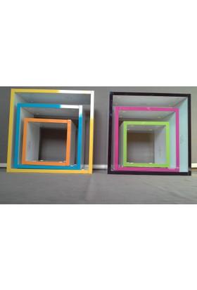 Cenker C013 Renkli Pvc Parlak Beyaz Mdf Çocuk Odası 3Lü 3 Boy Kare Raf