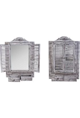Evistro Ahşap Eskitme Nostaljik Panjurlu Çekmeceli Ayna