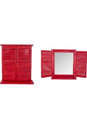 Evistro Ahşap Eskitme Nostaljik Panjurlu Ayna Kırmızı