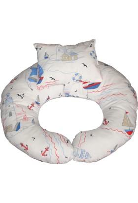 Baskaya Bebek Emzirme Destek Yastığı Ana Kucağı YelkenliDenizci Desen