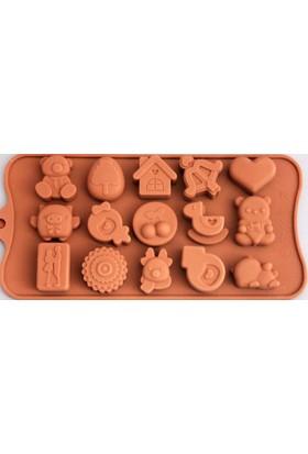 Simo Silikon Çocuk Oyuncakları Çikolata Kalıbı (1315) - 15'Li