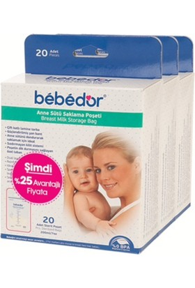 Bebedor Kilitli Süt Saklama Poşeti 20 x 3 Adet
