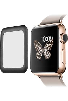 Microcase Apple Watch 38 mm 3D Metal Çerçeveli Tempered Cam Koruma