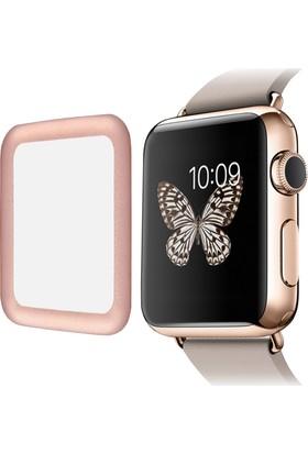 Microcase Apple Watch 42 mm 3D Metal Çerçeveli Tempered Cam Koruma