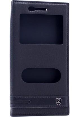 Case 4U Vestel Venüs Z10 Pencereli Kapaklı Kılıf Siyah