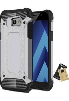 Case 4U Samsung Galaxy A7 2017 Çift Katmanlı Tank Kapak Gümüş