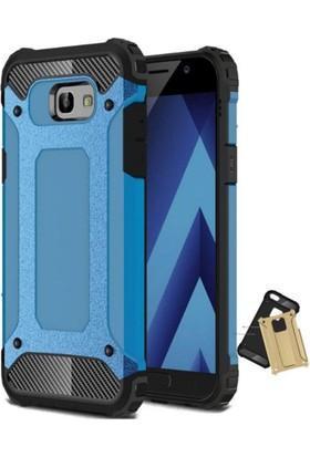 Case 4U Samsung Galaxy A7 2017 Çift Katmanlı Tank Kapak Mavi