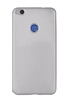 Case 4U Huawei P9 Lite 2017 Kılıf Karbon Silikon Gümüş + Cam Ekran Koruyucu