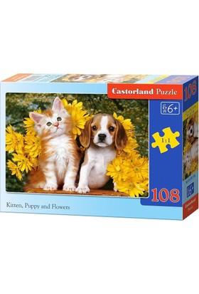 Castorland 108 Parça Midi Puzzle (Kedi - Köpek Yavrusu ve Çiçekler)