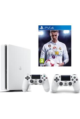 Sony Ps4 Slim 500 Gb Oyun Konsolu Beyaz + 2.Kol + Fifa 18 (İthalatçı Garantili)