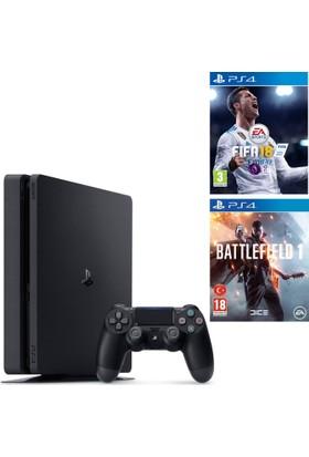 Sony Ps4 Slim 500Gb Oyun Konsolu + Fifa 18 + Battlefield 1 ( İthalatçı Garantili )