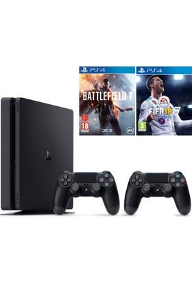 Sony Ps4 Slim 500Gb Oyun Konsolu + 2. Kol + Battlefield 1 + Fifa 18 ( İthalatçı Garantili )