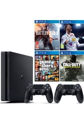 Sony Ps4 Slim 500Gb Konsol + 2. Ps4 Kol + Battlefield 1 + Fifa 18 + Gta 5 + C.O.D. Infınıte Warfare
