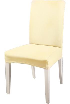 Masho Trend Krem Sandalye Örtüsü Likralı Yıkanabilir Sandalye Kılıfı