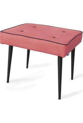 Boo Home Çok Amaçlı Dekoratif Metal Ayaklı Puf Kırmızı