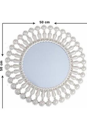 Evcazım Dekoratif Ayna (Beyaz) 50 cm