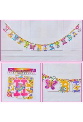 Partypark Happy Birthday Banner - Kelebekler (2,5 mt)