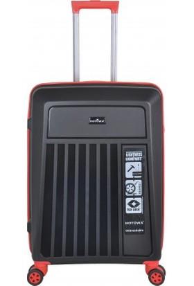 Hotowa Polipropilen Kırılmaz Valiz Kabin Boyu Siyah Kırmızı