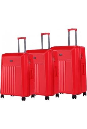 Hotowa 3' lü Set Polipropilen Kırılmaz Valiz Kırmızı