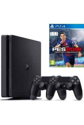 Sony Ps4 Slim 500Gb Oyun Konsolu + Ps4 2. Kol + Ps4 Pes 2018-Türkçe Menü