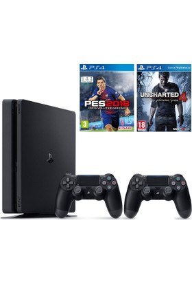 Sony Ps4 Slim 500Gb Oyun Konsolu + 2. Ps4 Kol + Ps4 Uncharted 4 + Ps4 Pes 2018