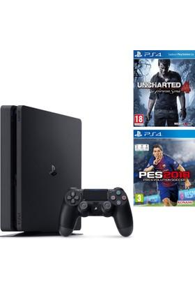 Sony Ps4 Slim 500Gb Oyun Konsolu + Pes 2018 + Uncharted 4 ( İthalatçı Garantili )