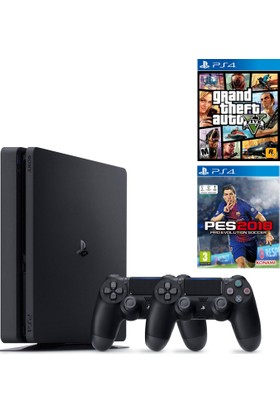 Sony Ps4 Slim 500Gb Oyun Konsolu + 2. Ps4 Kol + Gta 5 + Ps4 Pes 2018