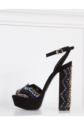 İlvi Viveca 326-Y7 Sandalet Siyah Taşlı Süet