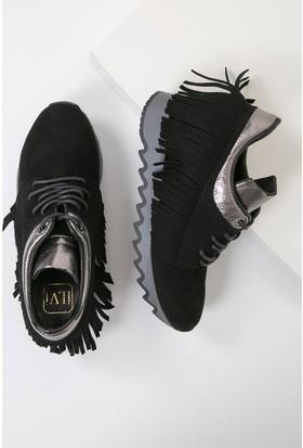 İlvi Filipp D17Ka-0381 Spor Ayakkabı Siyah Süet - Platin