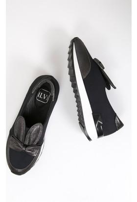 İlvi Puppy 3111 Spor Ayakkabı Platin Saten - Siyah Streç