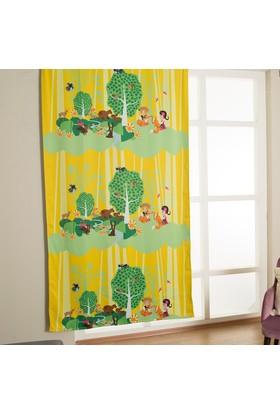 Melodie Çocuk Odası Blackout Fon Perde Yeşil Sarı 145X250