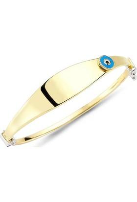 Sembolgold Altın Çocuk Kelepçesi Mavi Mineli Nazarlık