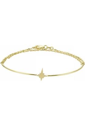 Sembolgold 14 Ayar Altın El Yapımı Yıldız Kelepçe