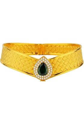 Sembolgold Altın Hasır Çizgili Kaburga Kelepçe T1698