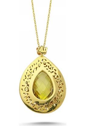 Sembolgold 14 Ayar Altın Tesir Kolye Sarı Citrin Taş