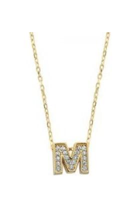 Sembolgold Altın M Harfli Taşlı Kolye
