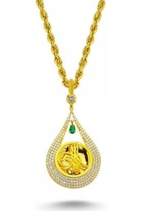 Sembolgold Altın Osmanlı Tugralı Taşlı Kolye T1481