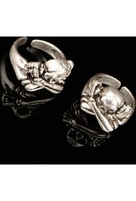 Modaroma Kurukafa Motifli Gümüş Kaplama Ayarlamalı Yüzük